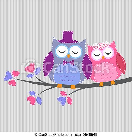 Un par de lechuzas enamoradas. Tarjeta de vector al estilo de trabajo - csp10546548