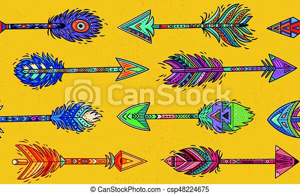 Patrón sin costura con flechas indias nativas americanas al estilo étnico - csp48224675