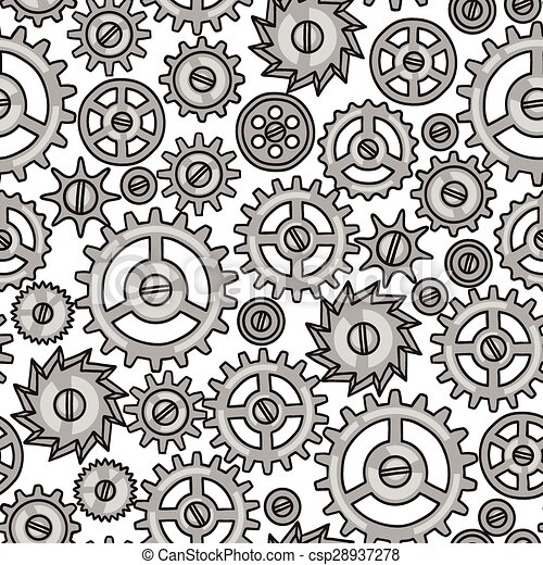 Steampunk diseño sin forma de engranajes de metal en estilo garabato - csp28937278