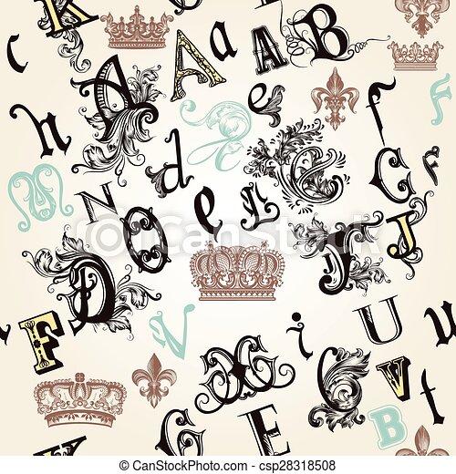 Un patrón sin costuras con ABC inglés en estilo retro decorado por adornos y coronas.eps - csp28318508