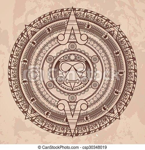 Calendario Azteca Vectores.Estilo Patron Piedra Azteca Vector Calendario Circular