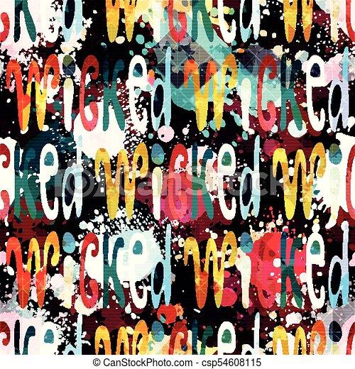 Un patrón de palabras sin costura en inglés en el estilo de graffiti. Ilustración de vectores de calidad para su diseño - csp54608115