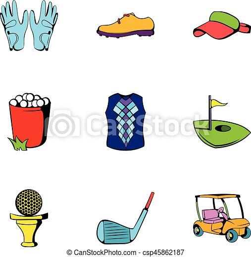 Iconos de pelota de golf, estilo de dibujos animados - csp45862187