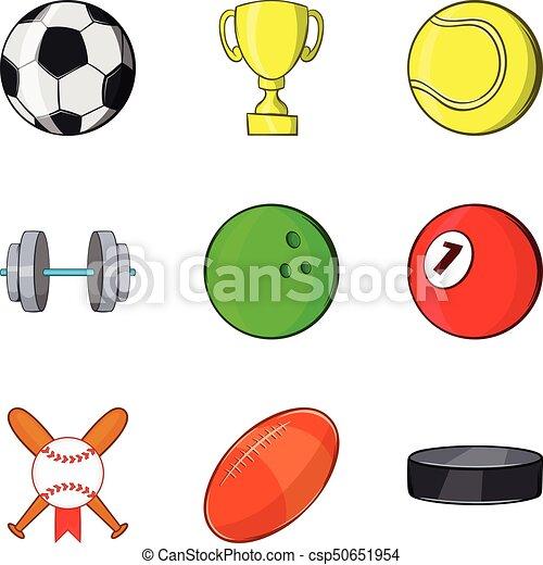 Icones deportivos, estilo de dibujos animados - csp50651954