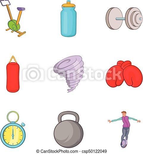 Juego de iconos de pelota, estilo de dibujos animados - csp50122049