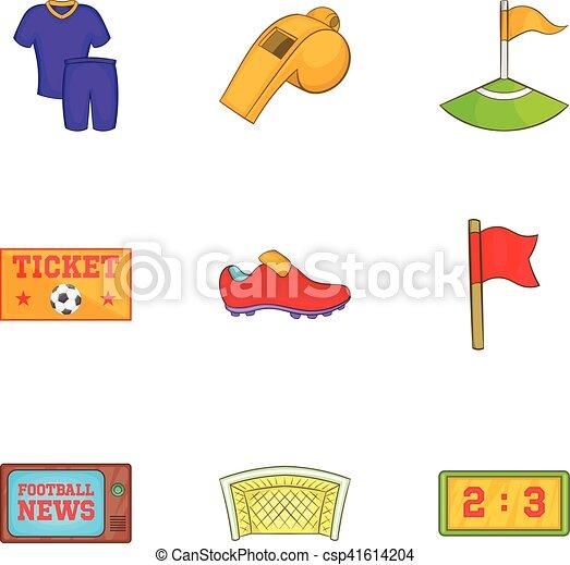 Juegos de pelota de iconos, estilo de dibujos animados - csp41614204