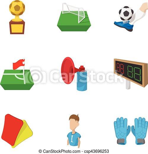 Juegos de pelota de iconos, estilo de dibujos animados - csp43696253