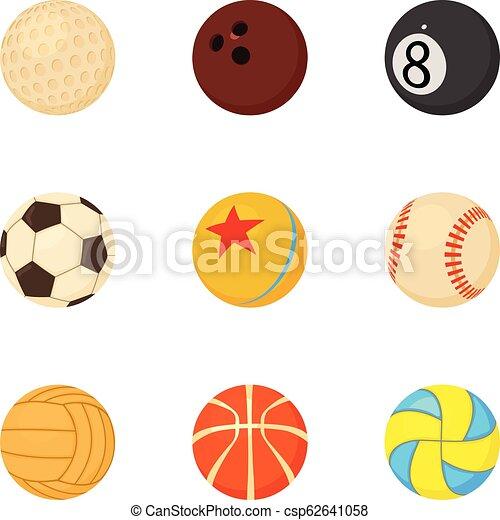 Juegos de pelota de iconos, estilo de dibujos animados - csp62641058