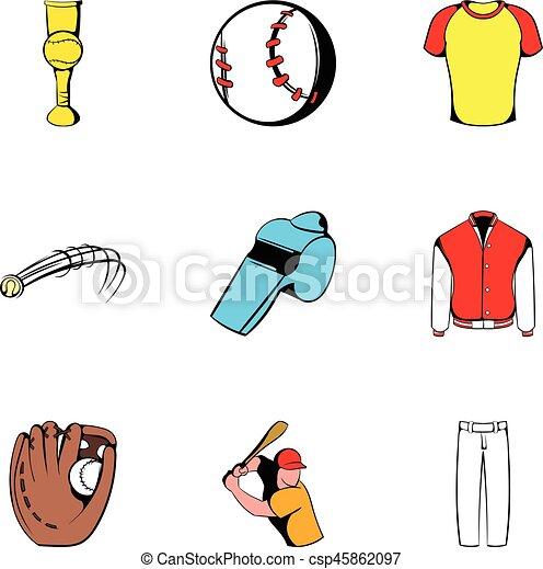 Juego de iconos, estilo de dibujos animados - csp45862097