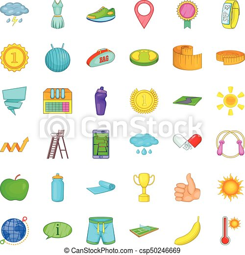 Icones de pelota de tenis, estilo de dibujos animados - csp50246669