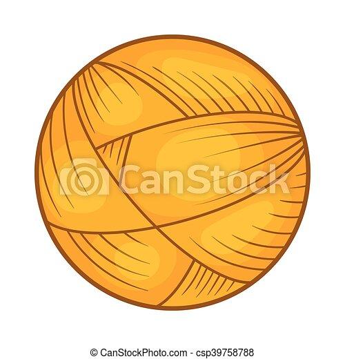 Bola de hilo de lana para el icono de punto, estilo de dibujos animados - csp39758788