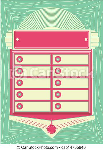 50s estilo jukebox antecedentes y marco - csp14755946