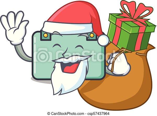 Santa con la maleta de regalo estilo mascota dibujos animados - csp57437964