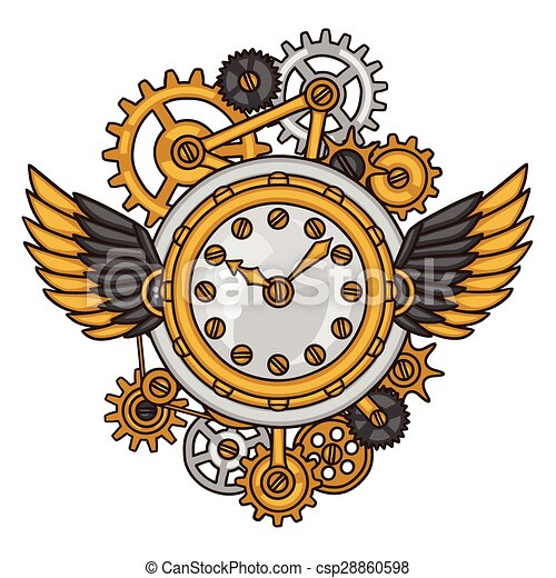 estilo, relógio, colagem, steampunk, metal, engrenagens, doodle - csp28860598