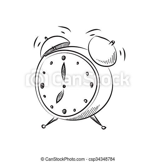 Estilo, reloj, alarma, ilustración, vector, caricatura vector ...