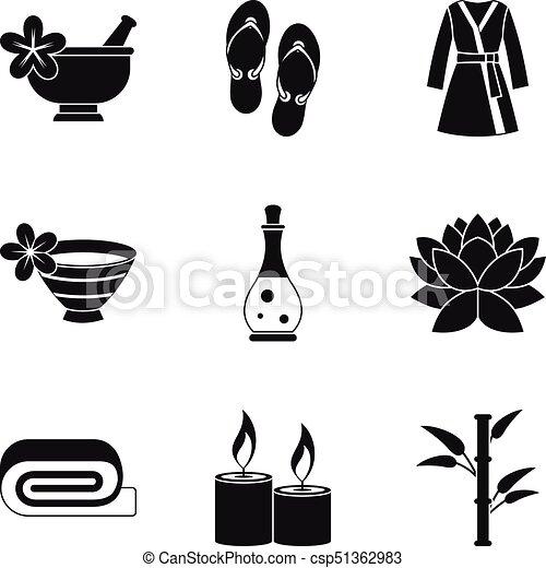 Iconos de masaje románticos, estilo simple - csp51362983