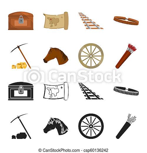Pickax Hoe, cabeza de caballo, carro de ruedas, quiver con flechas. Wild West puso iconos de colección en negro, cartón estilo Bitmap símbolo de la web de ilustración de acciones. - csp60136242