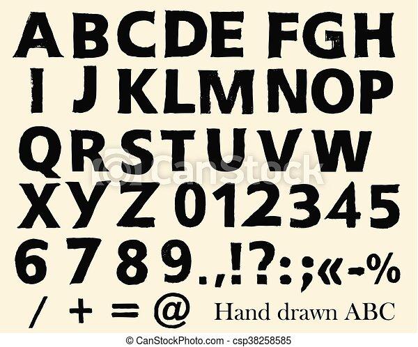 Marca vector font en estilo grunge letras inglesas ABC números y símbolos.eps - csp38258585