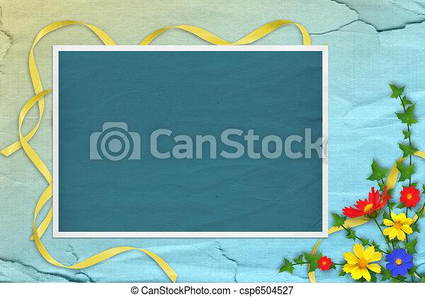 Papeles grunge diseño en estilo de recortes con marco y ramo de flores - csp6504527