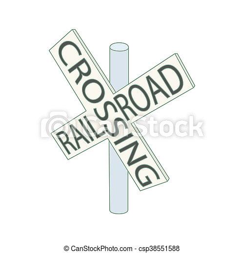 Estilo Seal Cruce Icono Ferrocarril Caricatura Estilo Icono