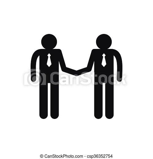 Dos hombres estrechando manos de icono, estilo simple - csp36352754