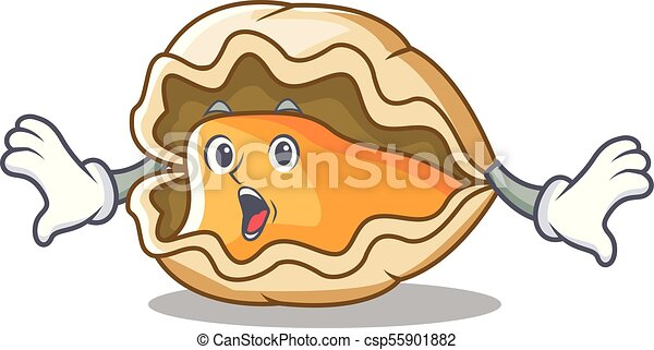 Sorprendida mascota de las ostras estilo dibujos animados - csp55901882