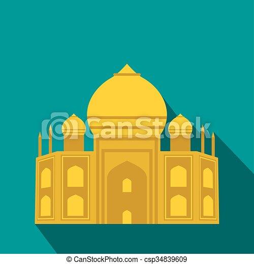 Taj Mahal, icono de la India, estilo plano - csp34839609
