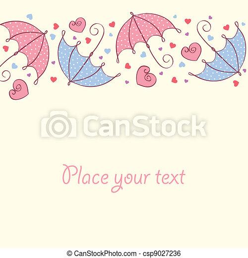 Tarjeta de amor con corazones y paraguas. Estilo retro - csp9027236