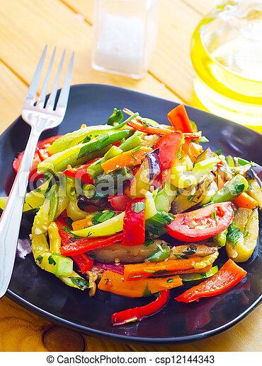 estilo, variedad, alimento, vegetales, tailandés, frito, conmoción - csp12144343