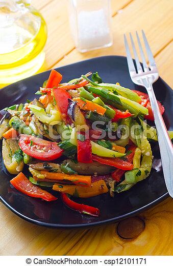 estilo, variedad, alimento, vegetales, tailandés, frito, conmoción - csp12101171