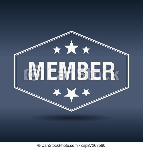 estilo, vendimia, etiqueta, miembro, retro, hexagonal, blanco - csp27263560