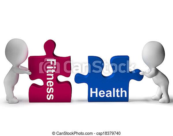 estilo vida, saudável, quebra-cabeça, saúde, condicão física, mostra - csp18379740