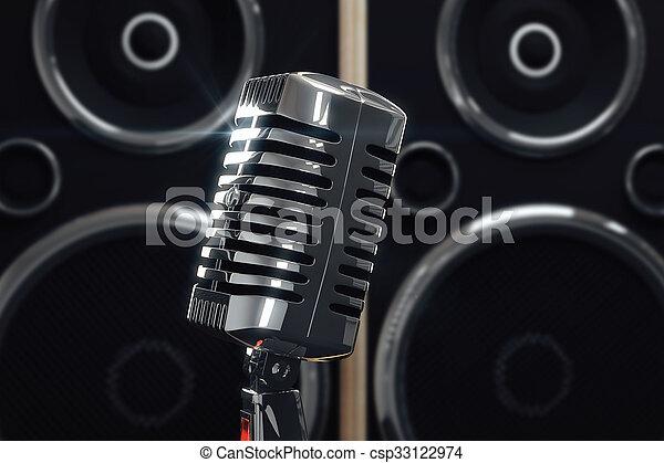 estilo, viejo, micrófono, plano de fondo, altavoces - csp33122974