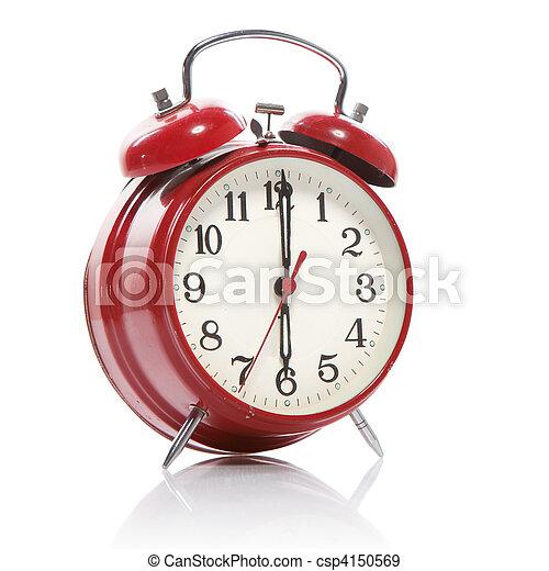 Un despertador de estilo rojo aislado en blanco - csp4150569