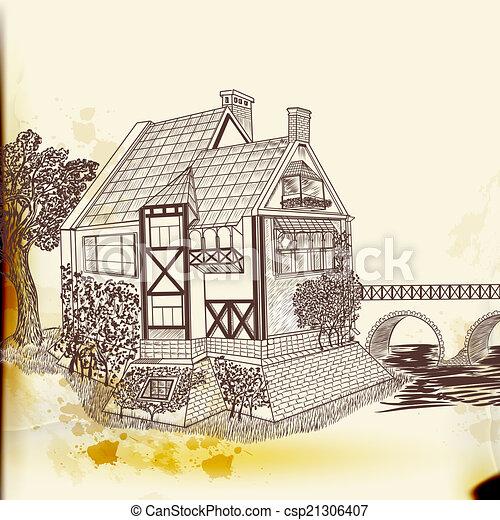 estilo, vindima, mão, vetorial, casa, desenhado - csp21306407