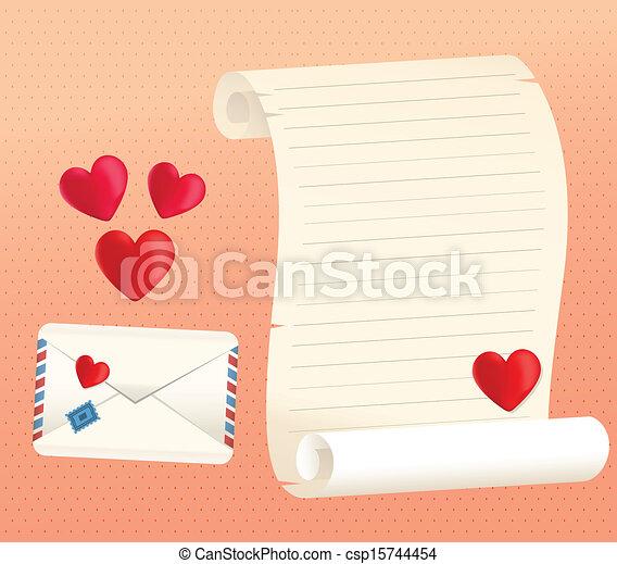 Estilos Amor Sobre Carta Corazones Rúbrica Vector Amor Forma