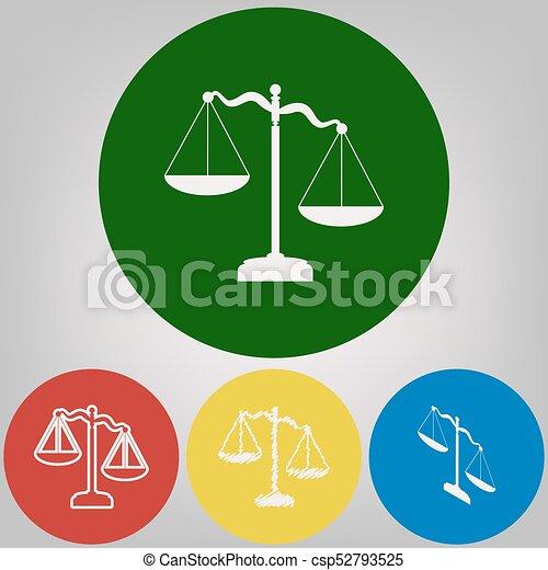 Escamas de signo de justicia. Vector. 4 estilos blancos de icono en 4 círculos de colores sobre fondo gris claro. - csp52793525