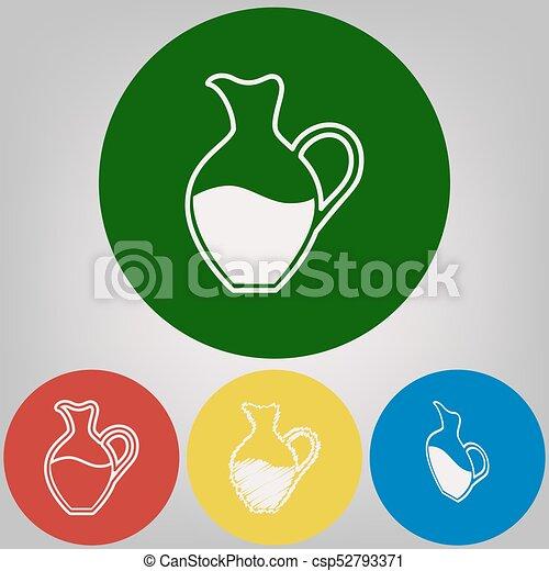 Señal de ánfora. Vector. 4 estilos blancos de icono en 4 círculos de colores sobre fondo gris claro. - csp52793371
