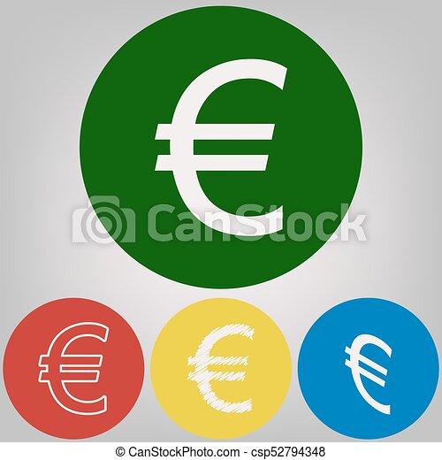 Un signo europeo. Vector. 4 estilos blancos de icono en 4 círculos de colores sobre fondo gris claro. - csp52794348