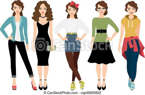4550db36b estilos, moda, ilustración, mujeres