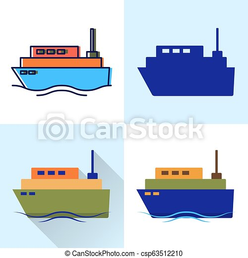 El ícono de la nave es plano y estilos de línea - csp63512210