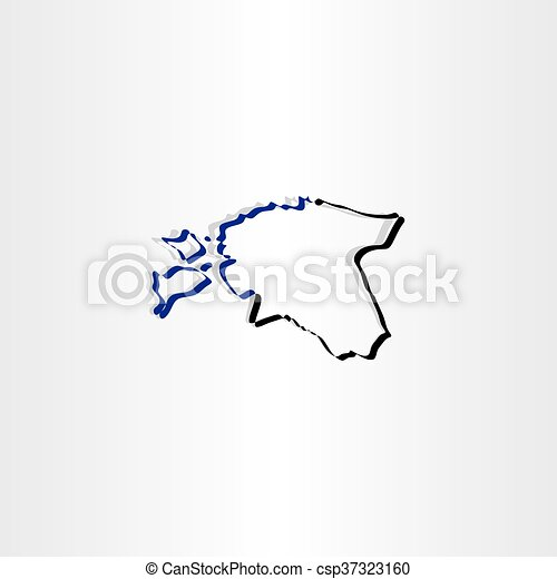 estonia map icon vector - csp37323160