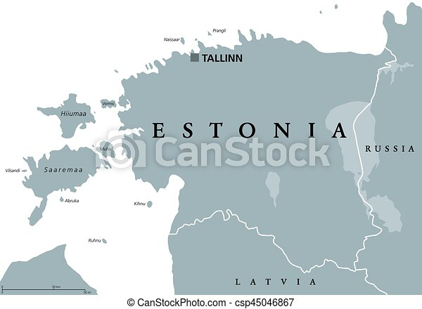 Estonia political map with capital tallinn national borders clip