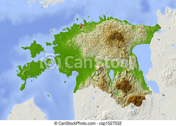 Estonia, shaded relief map. Estonia. shaded relief map with major ...