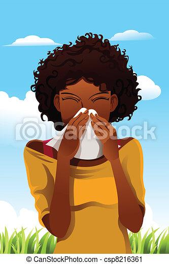 Mujer estornudadora - csp8216361