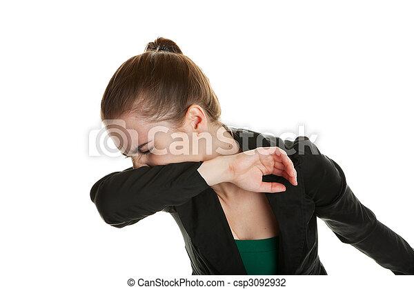 Mujer estornudadora - csp3092932