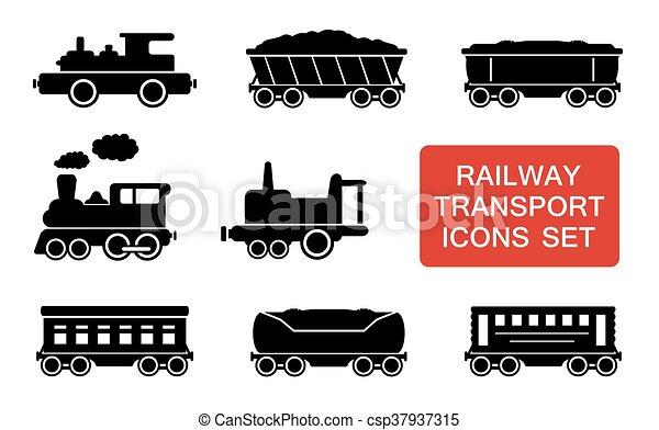 estrada ferro, transporte, ícones - csp37937315