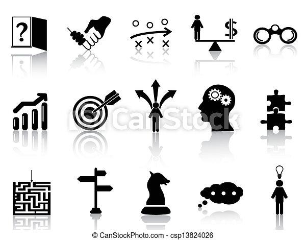 estratégia, jogo, ícones, negócio - csp13824026