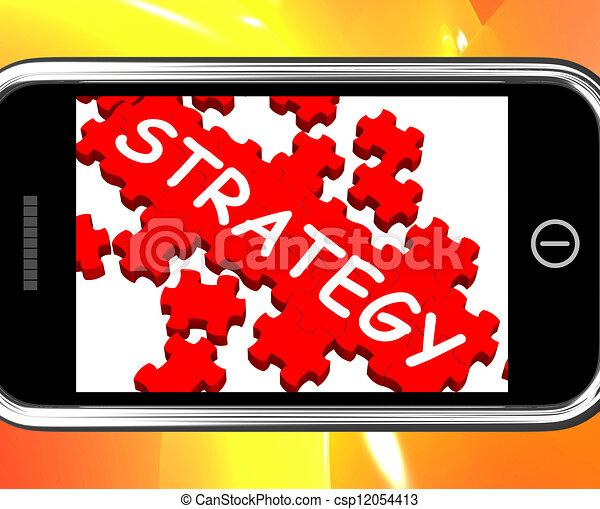 Estrategia en el teléfono inteligente que muestra visión estratégica - csp12054413