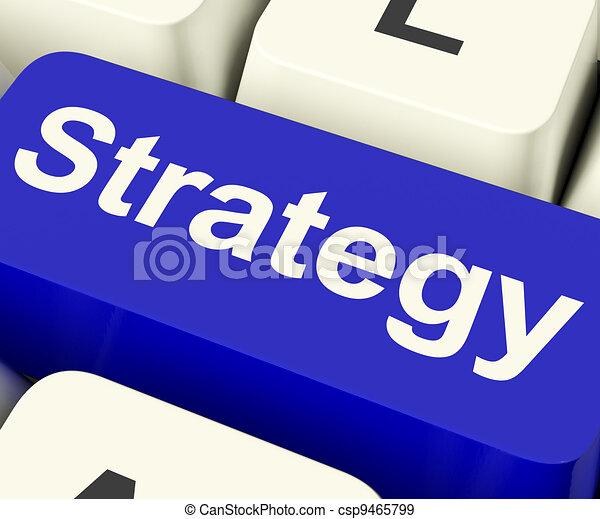 La llave de la computadora de estrategia para soluciones comerciales o metas - csp9465799